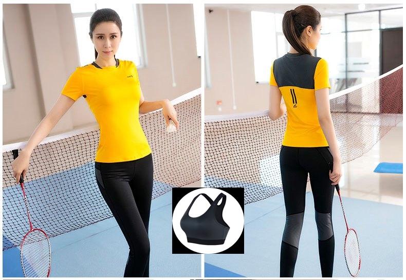 **พร้อมส่ง size L สีเหลือง ชุดออกกำลังกาย/โยคะ/ฟิตเนส เสื้อแขนสั้น+บรา+กางเกงขายาว