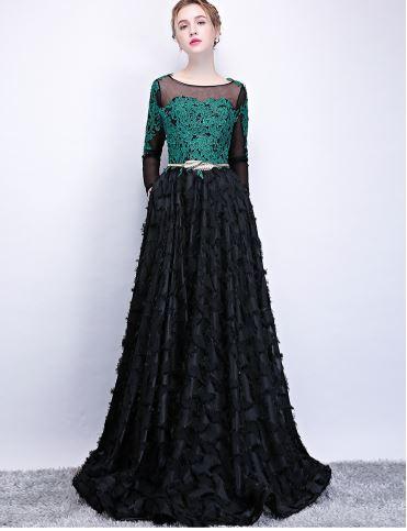 เสื้อผ้าผู้หญิง ชุดออกงาน ชุดราตรียาว สีเขียวดำตามรูป