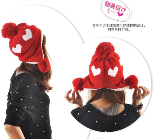 หมวกแฟชั่นกันหนาว ลายหัวใจน่ารัก (พร้อมส่งสีแดง)