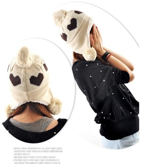 หมวกแฟชั่นกันหนาว ลายหัวใจน่ารัก (พร้อมส่งสีครีม)