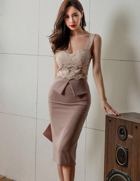 พรีออเดอร์ เดรสสายเดี่ยว เสื้อลูกไม้สวย ๆ แต่งงานเรียบหรูดูแพง สไตลสาวทำงานทันสมัย สไตลเกาหลี สี ชมพูกะปิ