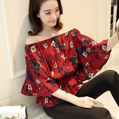 (พร้อมส่งสีแดงเข้ม) เสื้อแฟชั่นเกาหลี เสื้อเปิดไหล่ เสื้อแขนค้างคาว