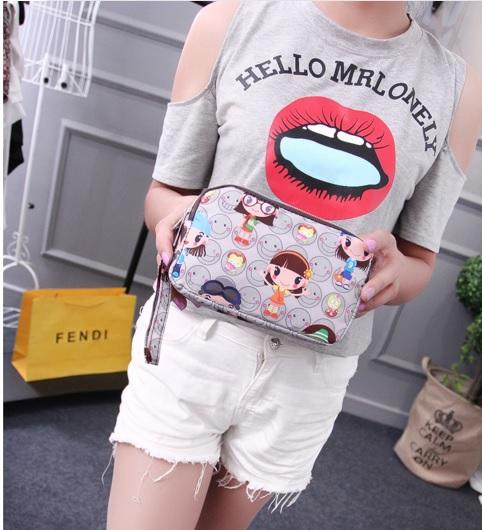 (พร้อมส่งสีเทา) กระเป๋าถือ กระเป๋าสตางค์ กระเป๋าเครื่องสำอางค์ กระเป๋าซิปลายน่ารัก