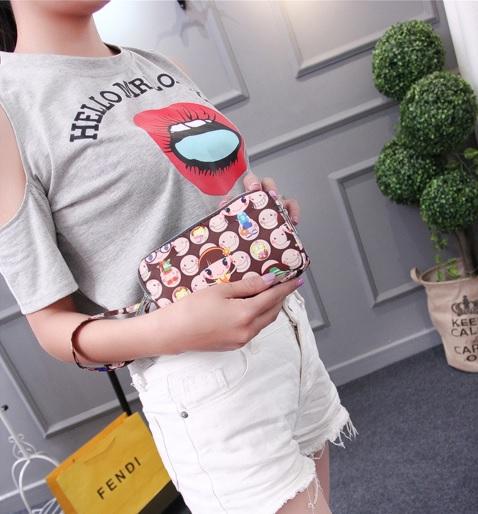 (พร้อมส่งสีน้ำตาล) กระเป๋าถือ กระเป๋าสตางค์ กระเป๋าเครื่องสำอางค์ กระเป๋าซิปลายน่ารัก