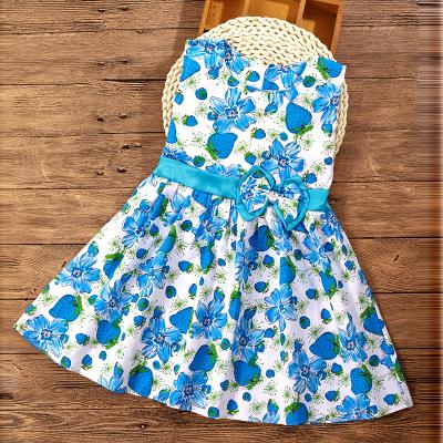 (พร้อมส่งสีขาวดอกไม้สีฟ้า) ชุดเดรสแขนกุดเด็ก  ชุดเดรสลายดอกไม้ ชุดเดรสเด็กแฟชั่น