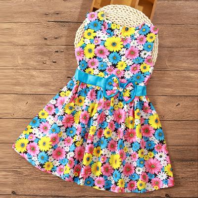 (พร้อมส่งสีรวมลายดอกไม้) ชุดเดรสแขนกุดเด็ก  ชุดเดรสลายดอกไม้ ชุดเดรสเด็กแฟชั่น