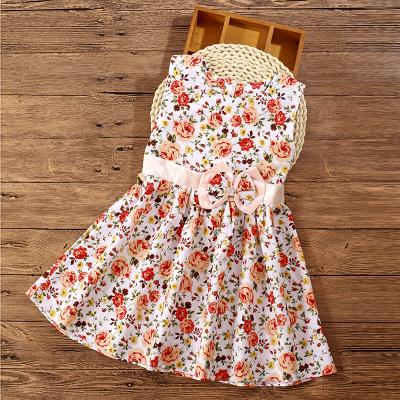 (พร้อมส่งสีขาวดอกสีโอรส) ชุดเดรสแขนกุดเด็ก    ชุดเดรสลายดอกไม้ ชุดเดรสเด็กแฟชั่น