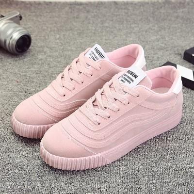 รองเท้าผู้หญิง ราคาถูก รองเท้าผ้าใบ รองเท้าแฟชั่น รองเท้าสตรีรองเท้าลำลองแบน มี สีเทา สีดำ สีแดง สีชมพู มี ไซร์ 35-40