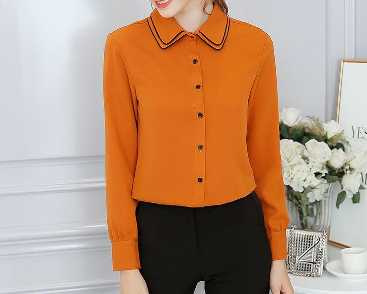 เสื้อแขนยาว ชีฟอง คอปก มีสี ขาว/ส้ม มีไซส์ S/M/L/XL