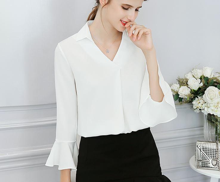เสื้อเชิ้ต แขนยาว มีสี ขาว/ชมพู/ฟ้า มีไซส์ S/M/L/XL/2XL