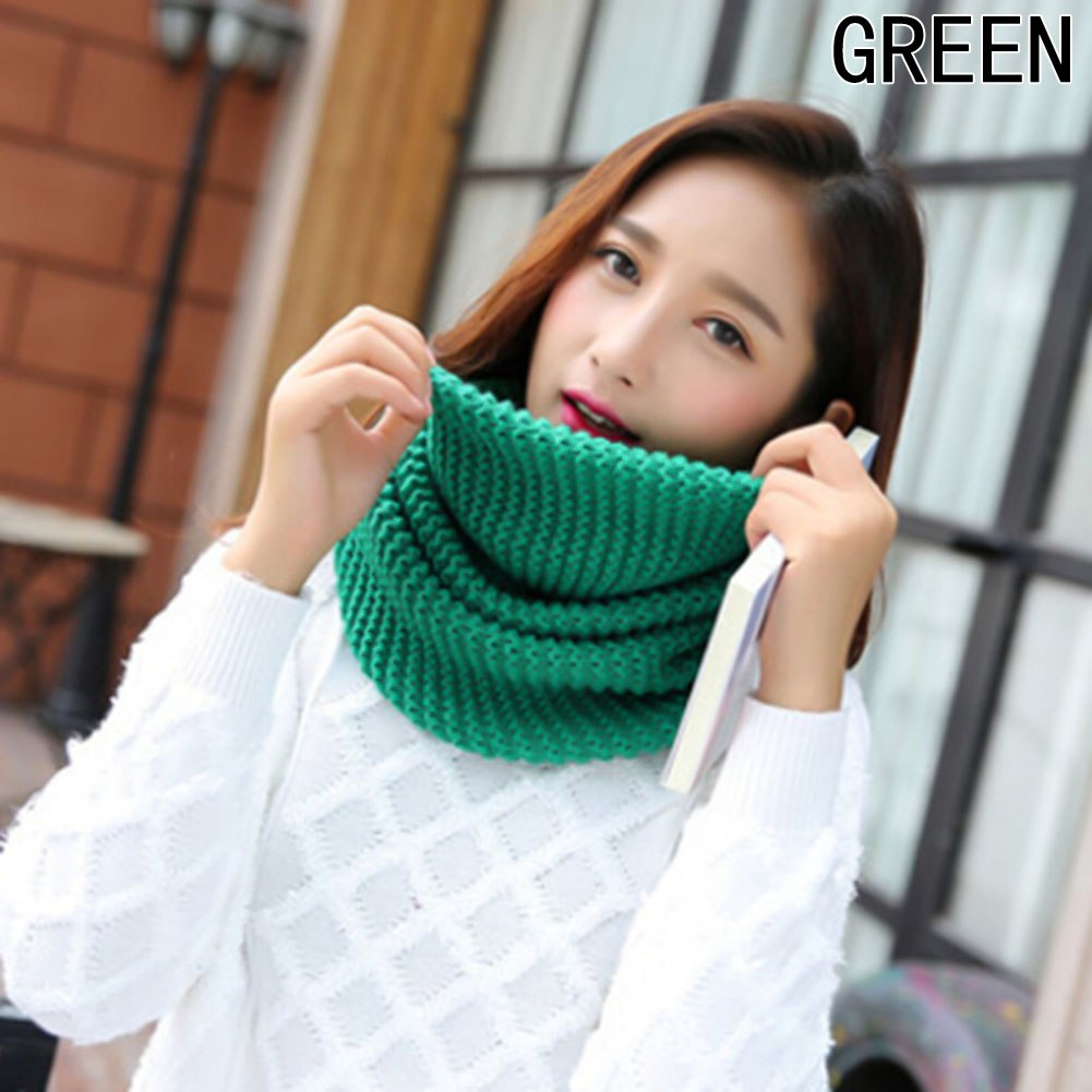 ผ้าพันคอไหมพรมวง#สีเขียว