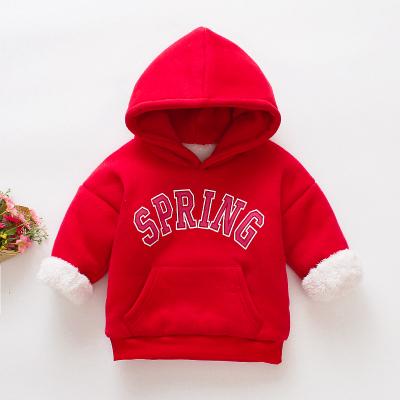 (พร้อมส่งสีแดง) เสื้อแขนยาวเด็ก เสื้อกันหนาวมีฮู้ดเด็ก เสื้อสเวตเตอร์เด็ก