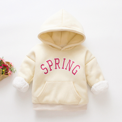 (พร้อมส่งสีเบจ) เสื้อแขนยาวเด็ก เสื้อกันหนาวมีฮู้ดเด็ก เสื้อสเวตเตอร์เด็ก