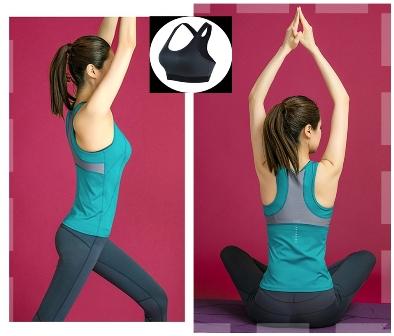 **พร้อมส่ง size M/L สีฟ้า ชุดออกกำลังกาย/โยคะ/ฟิตเนส เสื้อแขนกุด+บรา+กางเกงขายาว