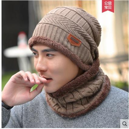 (พร้อมส่งสีกากี) หมวกไหมพรมกันหนาว+ผ้าพันคอกันหนาวผู้ชายผู้หญิง