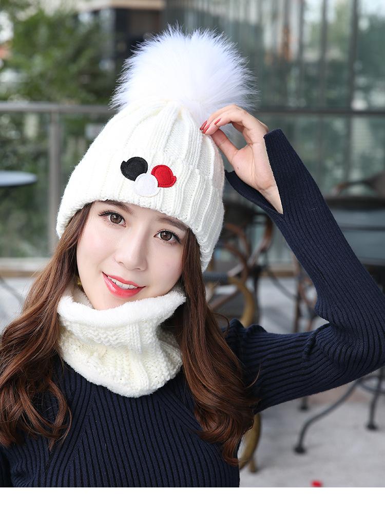 (พร้อมส่งสีขาว) เซตหมวกกันหนาวผู้หญิง หมวกไหมพรมผู้หญิง หมวกไหมพรม+ผ้าปลอกคอกันหนาว