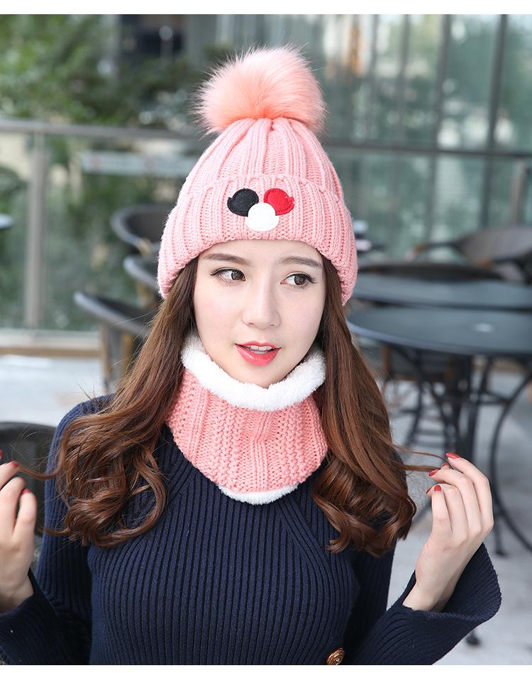 (พร้อมส่งสีชมพู) เซตหมวกกันหนาวผู้หญิง หมวกไหมพรมผู้หญิง หมวกไหมพรม+ผ้าปลอกคอกันหนาว