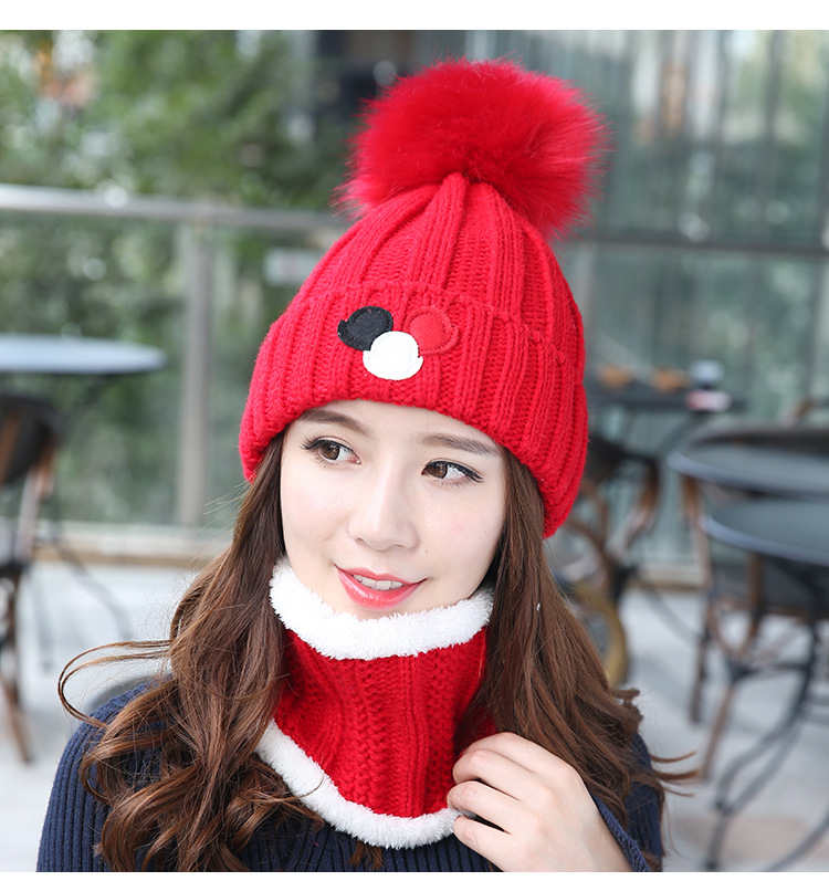 (พร้อมส่งสีแดงสด) เซตหมวกกันหนาวผู้หญิง หมวกไหมพรมผู้หญิง หมวกไหมพรม+ผ้าปลอกคอกันหนาว