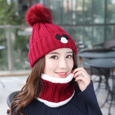 (พร้อมส่งสีไวท์แดง) เซตหมวกกันหนาวผู้หญิง หมวกไหมพรมผู้หญิง หมวกไหมพรม+ผ้าปลอกคอกันหนาว