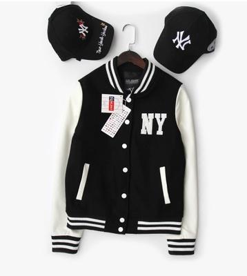 JACKET MLB MAJOR LEAGUE BASEBALLเสื้อแจ็คเก็ต เสื้อกันหนาว แขนหนัง เบสบอล แฟชั่น NY NEW YORK