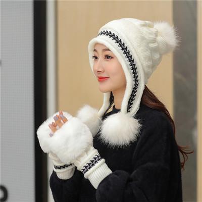 เซตหมวกกันหนาว+ถุงมือ หมวกไหมพรมผู้หญิง หมวกไหมพรมกันหนาว