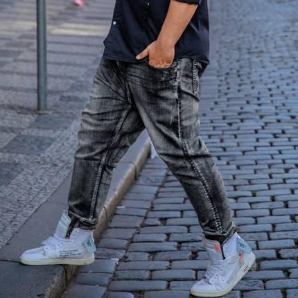 ขนาด:36 38 40 42 44 46 48 สี:เทา กางเกงคนอ้วน กางเกงผู้ชาย ขนาดใหญ่ กางเกงยีนส์ ขายาว