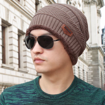 (พร้อมส่งสีกากี หมวกอย่างเดียว) หมวกแฟชั่นกันหนาวผู้ชาย หมวกไหมพรมกันหนาว