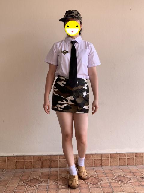 ++พร้อมส่ง++ ชุดแฟนซีทหาร ชุดทหารผู้หญิงลายพราง สวย เทห์ +หมวกแก๊ปสุดเทห์