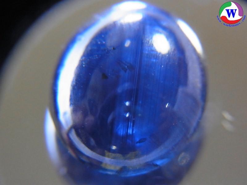 พลอยเมืองจันทบุรี ไพลินสีน้ำเงินเข้ม เผาเก่า 6.15 กะรัต