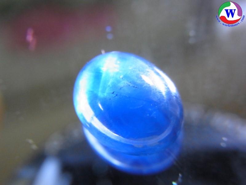 พลอยเมืองจันทบุรี ไพลินสีน้ำเงินเข้ม เผาเก่า 4.45 กะรัต