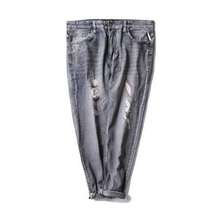 ขนาด:38 40 42 44 46 สี:ฟ้า กางเกงคนอ้วน กางเกงผู้ชาย ขนาดใหญ่ กางเกงยีนส์ ขายาว