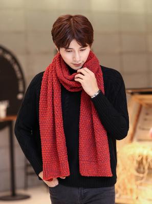 ผ้าพันคอกันหนาว ผ้าผันคอไหมพรม ผ้าพันคอแฟชั่น (พร้อมส่งแดง)