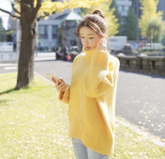 (พร้อมส่งสีเหลือง) เสื้อกันหนาวไหมพรมคอเต่า เสื้อไหมพรมคอเต่า เสื้อไหมพรมผู้หญิง เสื้อคอเต่ากันหนาว