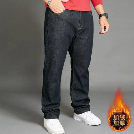 ขนาด:38 40 42 44 46 48 สี:ดำ กางเกงคนอ้วน กางเกงผู้ชาย ขนาดใหญ่ กางเกงยีนส์ยืด ขายาว