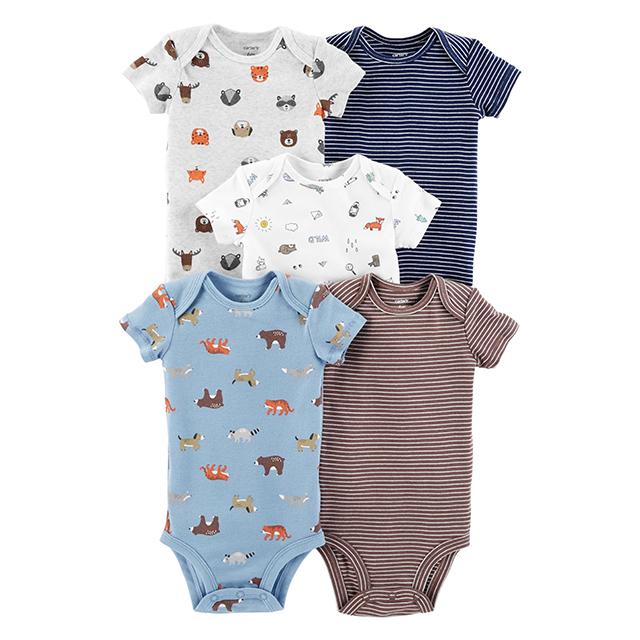 Carter's 5-Pack 5-Pack Short-Sleeve Bodysuits, Animal Boy