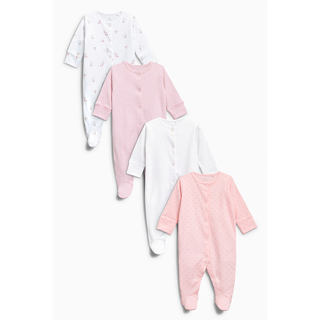 Next Pink and White Sleepsuit 4 Pack (Size 0-3m)