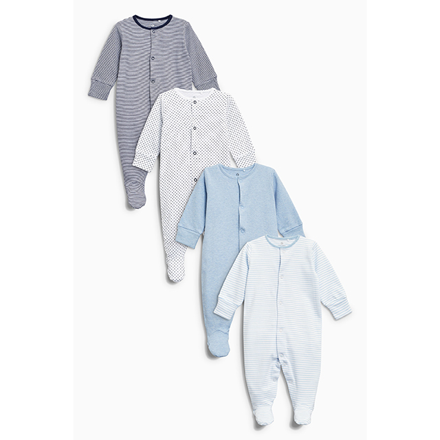 Next Blue and White Sleepsuit 4 Pack (Size 0-3m)