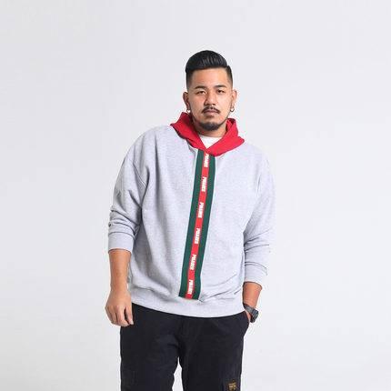 ขนาด:2XL 3XL 4XL 5XL สี:เทา เสื้อคนอ้วน เสื้อผ้าผู้ชาย ขนาดใหญ่ เสื้อกันหนาวมีฮู้ด