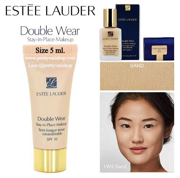 **พร้อมส่ง**Estee Lauder Double Wear Stay In Place Makeup SPF 10 PA++ ขนาดทดลอง 5 ml. สี Sand เหมาะกับผิวขาวปานกลางโทนเหลือง รองพื้นสำหรับคนหน้ามัน เน้นเรื่องการควบคุมความมันและปกปิด เนื้อกึ่งแมท ปกปิดดีมาก ช่วยปรับผิวให้เรียบเนียน ไม่มีส่วนผสมของน้ำหอม แ