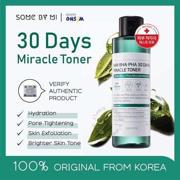 *พร้อมส่ง*SOME BY MI AHA BHA PHA 30 Days Miracle Toner 150 ml. โทนเนอร์รักษาสิว 30วัน แบรนด์เกาหลี ทำความสะอาดผิวหน้า สำหรับผู้ที่เป็นสิว ผิวมัน รูขุมขนกว้างโดยเฉพาะ ด้วยส่วนผสมจากสารสกัดทีทรี 10,000 PPM ช่วยลดสิว กระชับรูขุมขน ฟื้นฟูผิวให้ดูกระจ่างใสขึ้น