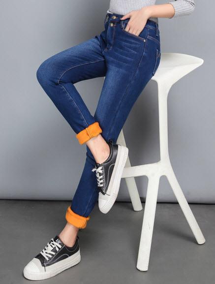 พรีออเดอร์ กางเกงขายาวกันหนาว บุด้านใน ผ้ายีนส์ยืดเล็กน้อยด้านนอก สี ยีนส์เข้ม  ดำ