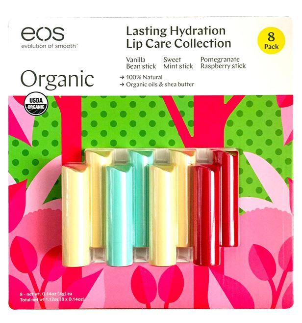 *พร้อมส่ง*EOS Organic Smooth Lip Balm Lasting Hydration Collection 8 Sticks ลิปบาล์มไข่ตัวดังตัวฮิตยอดนิยม มาในรูปแบบใหม่ ในรูปแบบแท่ง 8 แท่ง 3 กลิ่น หวาน หอม ละมุน มีรสชาดติดปากหวานฉ่ำ ใช้ส่วนผสมออร์แกนิค 95% ไม่มีพาราเบน