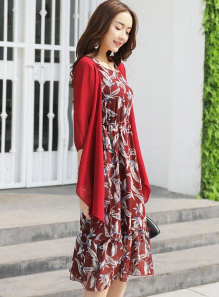 พรีออเดอร์ เดรสยาวสวย ๆ เดรสชีฟองลายดอก แยกชิ้นกับเสื้อคลุม ได้ทั้งสอง สี แดง เขียว เทา ดำ