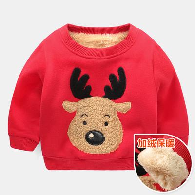 (พร้อมส่งสีแดง) เสื้อกันหนาวคริสมาสต์เด็ก เสื้อแขนยาวเด็ก เสื้อกันหนาวมีบุ เสื้อลายคริสมาสต์