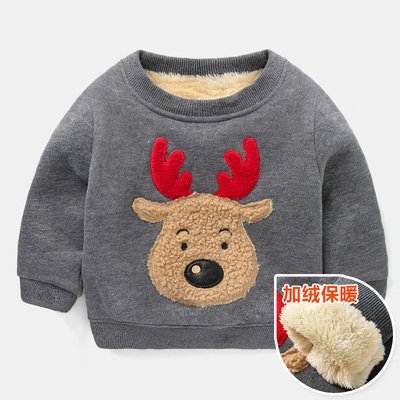 (พร้อมส่งเทา) เสื้อกันหนาวคริสมาสต์เด็ก เสื้อแขนยาวเด็ก เสื้อกันหนาวมีบุ เสื้อลายคริสมาสต์