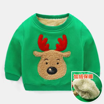 (พร้อมส่งสีเขียว) เสื้อกันหนาวคริสมาสต์เด็ก เสื้อแขนยาวเด็ก เสื้อกันหนาวมีบุ เสื้อลายคริสมาสต์