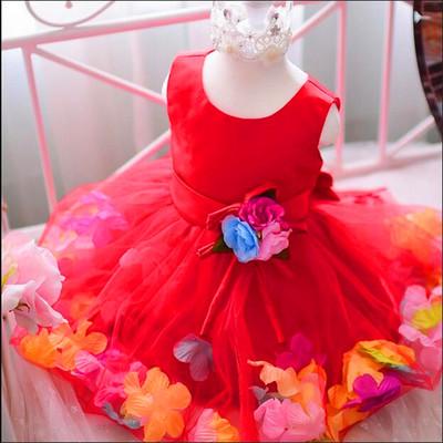 (พร้อมส่งสีแดง) ชุดเดรสเด็กผู้หญิง ชุดเดรสการแสดงเด็ก ชุดเดรสดอกไม้ ชุดออกงานเด็ก