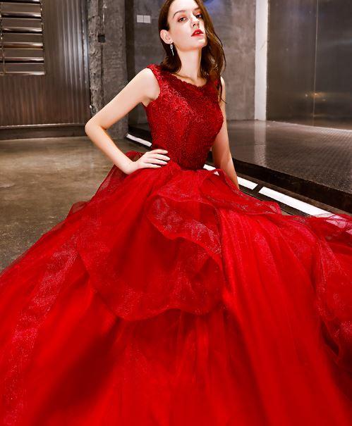 ชุดราตรียาว ชุดออกงาน ชุดไปงานแต่ง  สีแดง