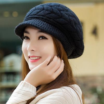 (พร้อมส่งสีดำ) หมวกแฟชั่นผู้หญิง หมวกไหมพรมกันหนาว หมวกกันหนาวทรงแกป