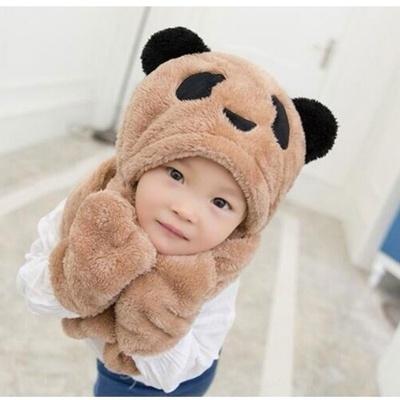 (พร้อมส่งสีน้ำตาล) หมวกผ้าพันคอกันหนาว หมวกหมีกันหนาว หมวกเด็กกันหนาว